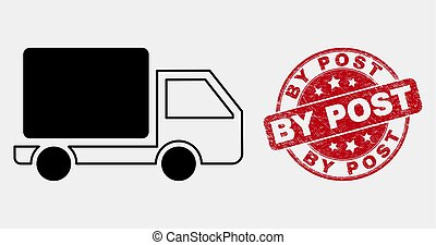 Vector Stroke Lorry Icon and Scratched By Post Watermark