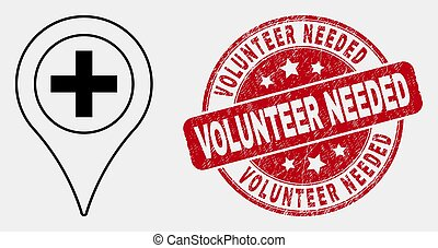 Vector Stroke Medical Map Marker Icon and Distress Volunteer Needed Stamp Seal