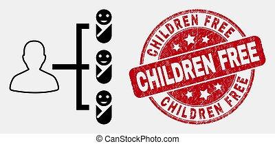 Vector Stroke Newborn Parent Links Icon and Grunge Children Free Seal