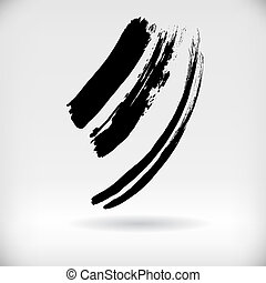 Vector Strokes of a Paint Brush - Three Broken up Black...