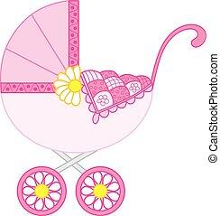 Vector Stroller for Baby Girl. Stroller Vector Illustration...