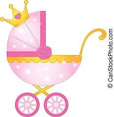 Vector Stroller for Princess Baby Girl