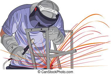 vector Illustration of worker that working in industrial factories.