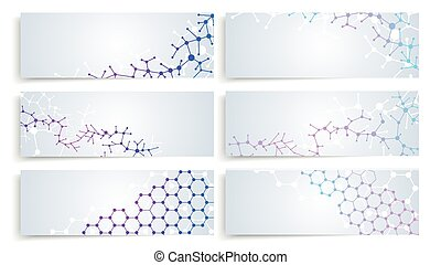 vector, structuur, dna, cellen, molecule, connection., hersenen, set, banieren, chemie, medisch