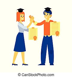 Vector student graduate woman man with diploma