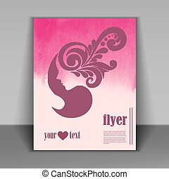 Vector stylish banner, poster and flyer for fashion show with pink silhouette of beautiful woman part of profile