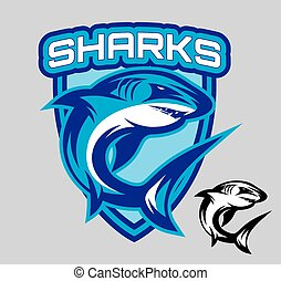 vector stylish emblems for sports teams with a shark -...