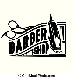 vector stylish logo for barbershop with scissors and clipper