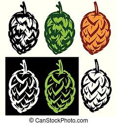 vector stylish set of hop cones illustrations