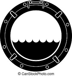 vector stylized black and white boat window symbol
