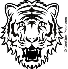 vector stylized black and white tiger face