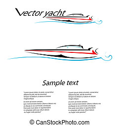 vector stylized black yacht icon.