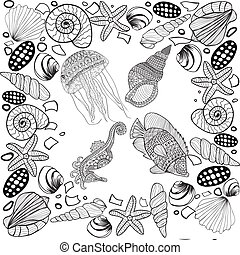 Composition Of Tropical Fish Seahorse Jellyfish Shell Underwater Corals
