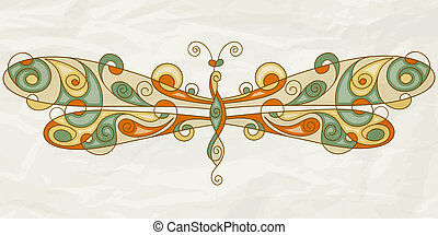 vector stylized dragonfly on crumpled paper texture - vector...