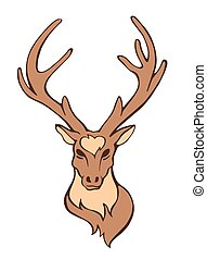 Vector stylized flat forest vintage color deer head isolated on white