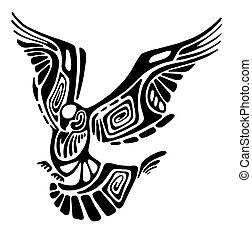 Vector stylized flying bird isolated on white.