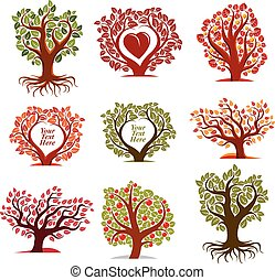 Vector stylized nature symbols with red heart, art fruity trees collection. Gardening idea design elements, fruitfulness theme. Empty copy space, you are free to write your text here.