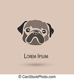 Vector stylized pug dog icon. Cute illustration