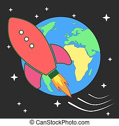 Vector stylized retro rocket ship in space.