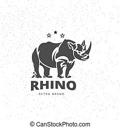 Vector Stylized Rhino in Vintage Style for Logotype, Label,...