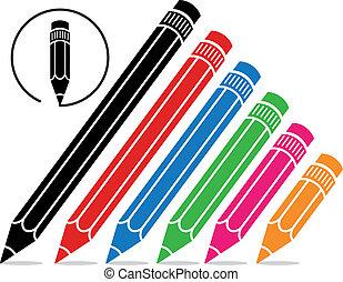 vector stylized school pencils