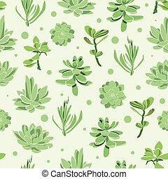 Vector succulent garden seamless pattern background