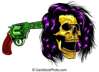 vector suicide skull with gun and blood