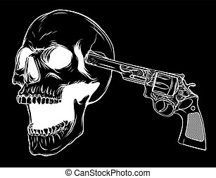 vector suicide skull with gun in black background