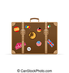 Vector suitcase with travel stickers isolated on white