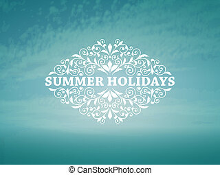 Vector Summer Background with blue sky and sea