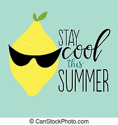 Stay cool this summer - Vector summer background with hand ...