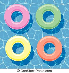 vector summer background with inflatable rings floating on...