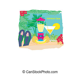 vector summer background with palm trees  and fruity drink
