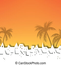 Vector Summer Background with Palm Trees