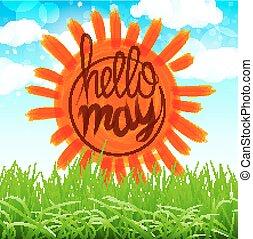 vector Summer Background With Sun, Grass, Flower And Butterflies