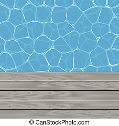 vector summer background with swimming pool water and wooden...