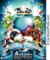 Vector Summer Beach Party Flyer Design with disco ball and shipping elements on tropical background. Eps10 illustration.