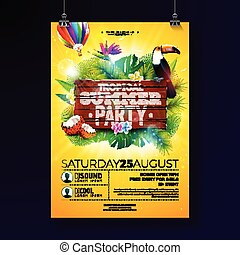 Vector Summer Beach Party Flyer Design with typographic elements on wood texture background. Tropical plants, flower, toucan bird, coconut and air balloon with blue cloudy sky. Holiday design template for banner, flyer, invitation or poster.