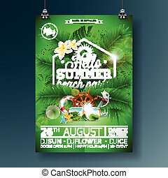 Poster for summer party  background with palm trees  the names of