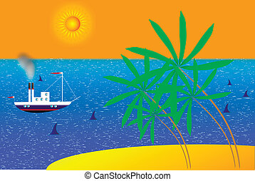 Vector summer beach with sea sun and palm tree
