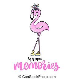 Vector summer card with pink princess flamingo. Trendy illustration.