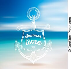 Vector. Summer Design. Blur Beach Background.