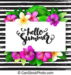 Vector summer hand lettering - hello summer - with tropical...