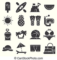 Vector Summer icons gray set on white background