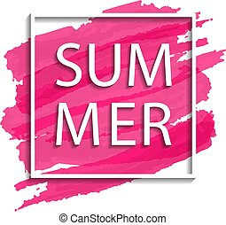 vector summer illustration of white frame on pink background