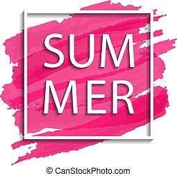 vector summer illustration of white frame on pink background