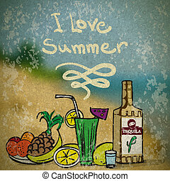 Vector summer illustration with still life of fruit, tequila cocktails