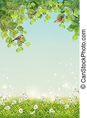 Vector Summer Landscape - Vector summer landscape with two...