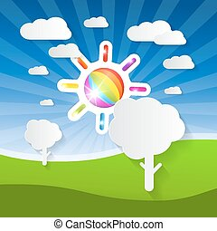 Vector Summer Landscape Illustration with Colorful Sun, Paper Trees and Clouds on Blue Sky and Green Field