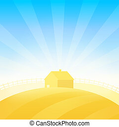 Farm House near Field of Wheat